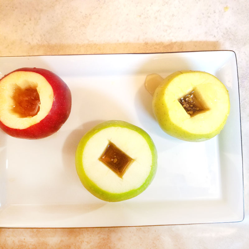 Make an easy DIY apple honey dish for Rosh Hashanah - a great idea for the Jewish High Holidays as a table centerpiece or just as a food craft.