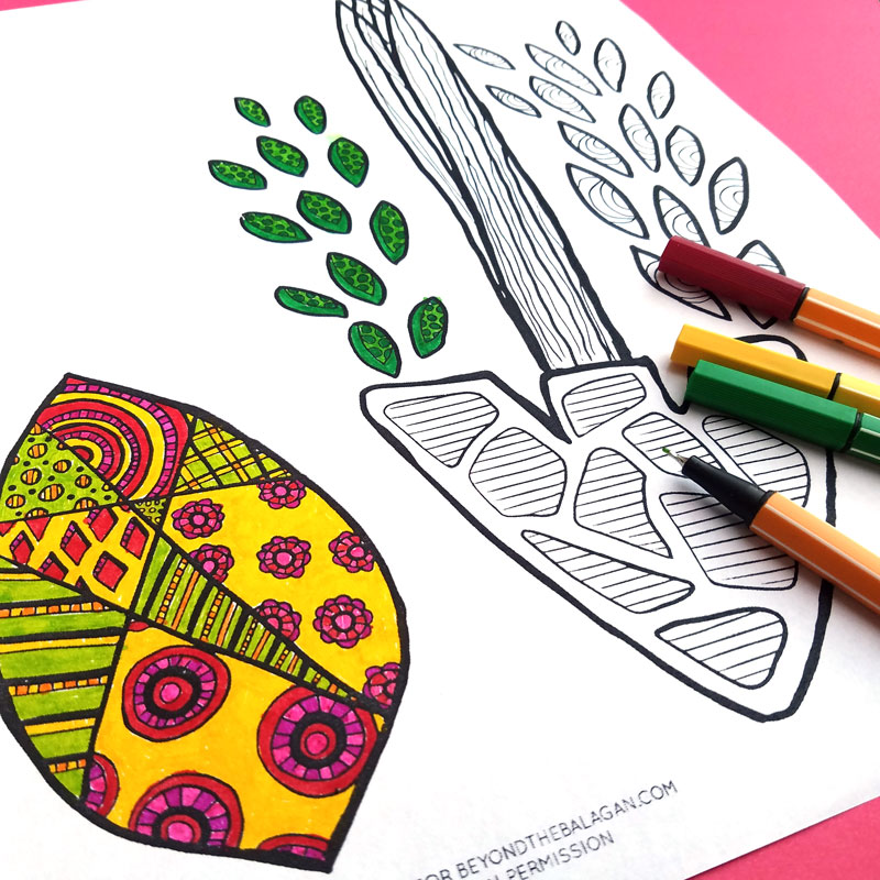 Print and color this free printable sukkah poster coloring page for adults! This cool sukkah decoration craft can be colored on many levels - by adults, teens, or big kids. Print in poster size at your local printer, or print on regular paper and frame! This unique Jewish coloring page for the holiday of sukkos is so pretty and modern! #jewishcrafts #sukkos #sukkot #coloringpage
