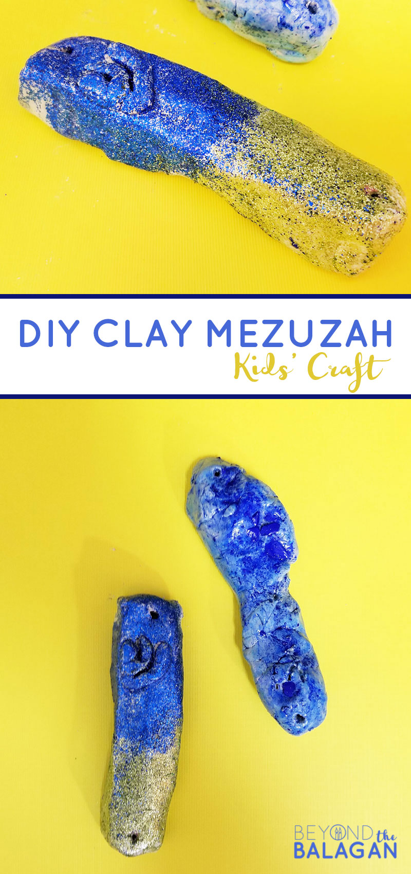 This adorable DIY clay mezuzah craft for kids is a cool Jewish craft for kids to make - it's super easy too!