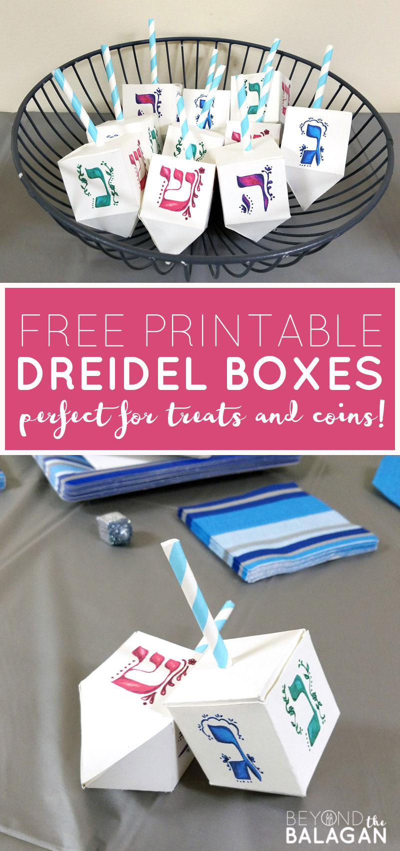 These free printable dreidel boxes are perfect for the Jewish holiday of Hanukkah or Chanukah as it's often called! It's perfect for filling with chocolate coins - or gelt- and make a great Hanukkah party favor or treat box. This Hannukah craft is great to use for small gifts too!