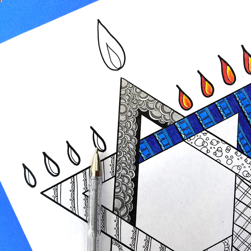 The chanukah coloring page for adults is so beautiful - grab your free printable Hanukkah coloring page for adults today - great craft idea for a party or event. Perfect for teens and tweens too! #Chanukah #hanukkah