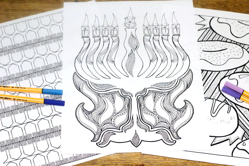 Chanukah coloring pages for adults