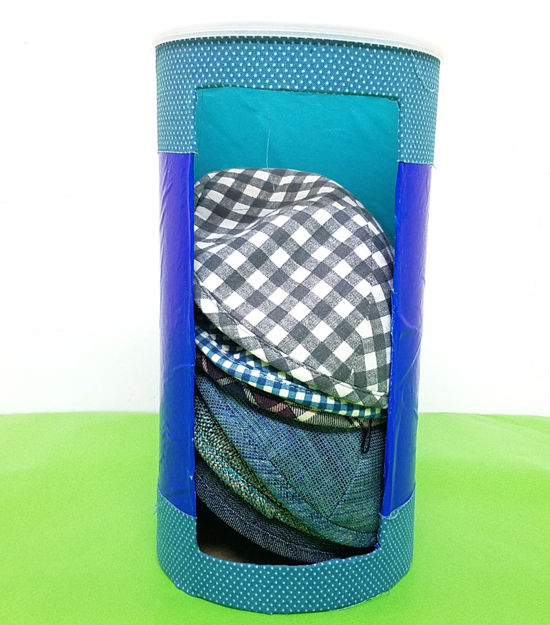 This cool and easy kippah storage solution will help you organize yarmulkes and access them as well!