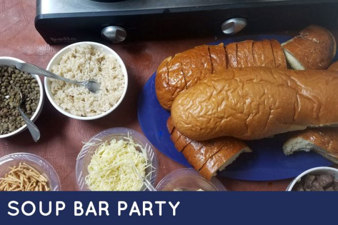 A soup bar is an easy and affordable way to host a meat buffet for a crowd! Click to learn how we did it.