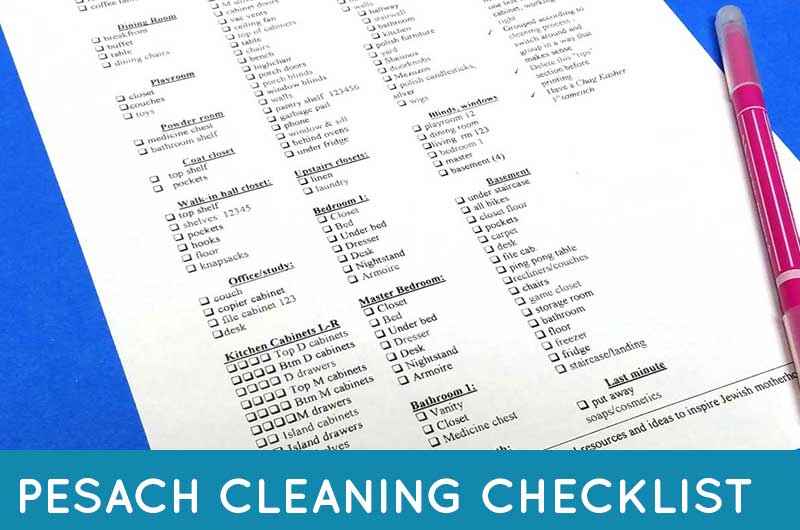 Pesach Cleaning Checklist  For Passover And Beyond Free Printable