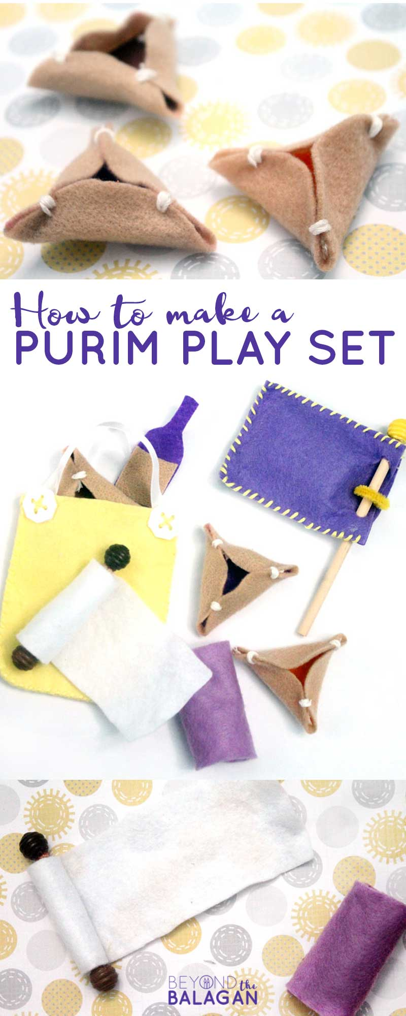 This adorable felt purim toy is easy to make yourself! Includes DIY pretend hamantashen and more, perfect craft for the Jewish holiday of Purim. #purim #hamantashen #diytoy