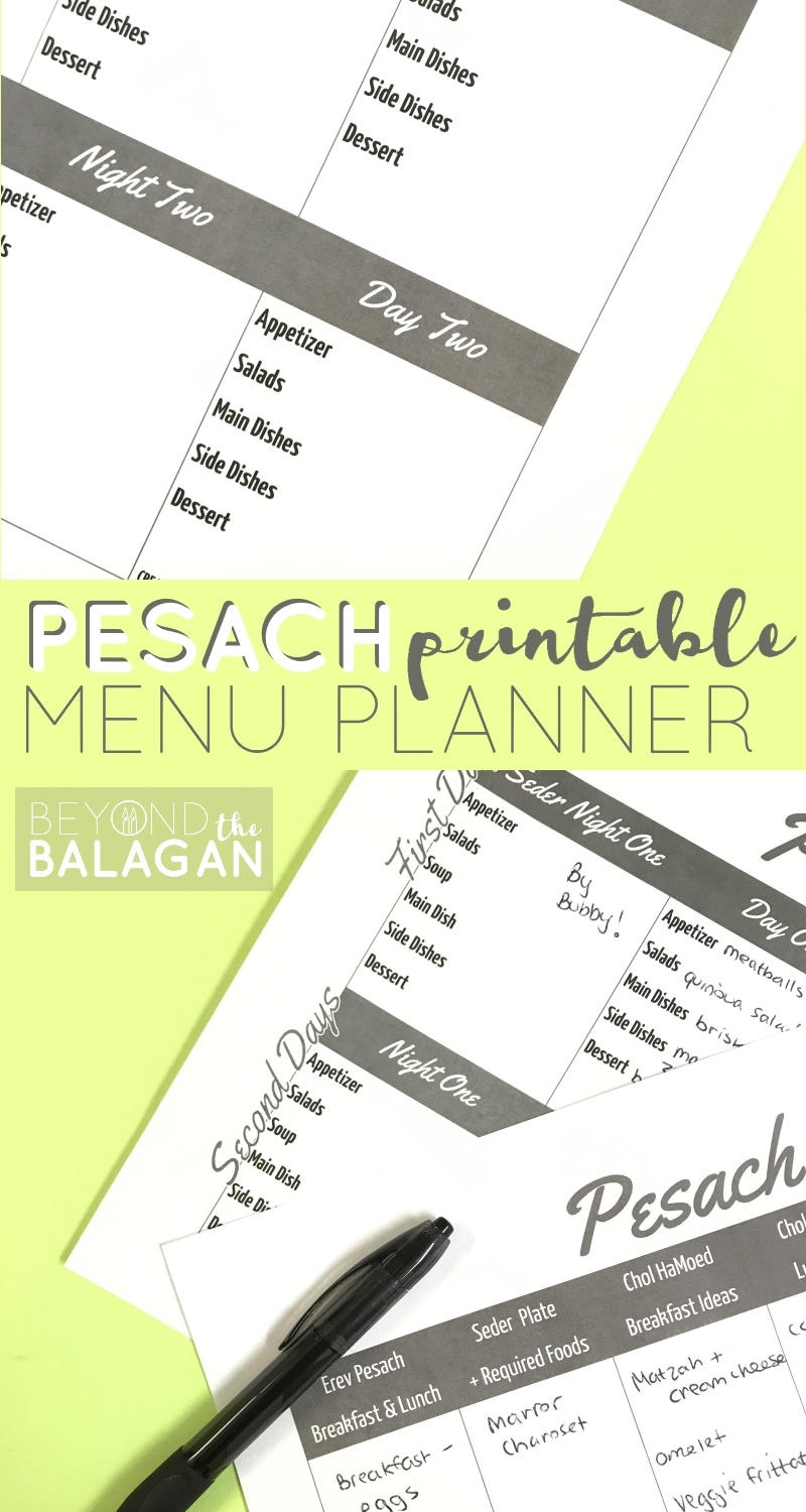This Pesach menu planner is just the thing you need to organize all your Passover meals and guests!