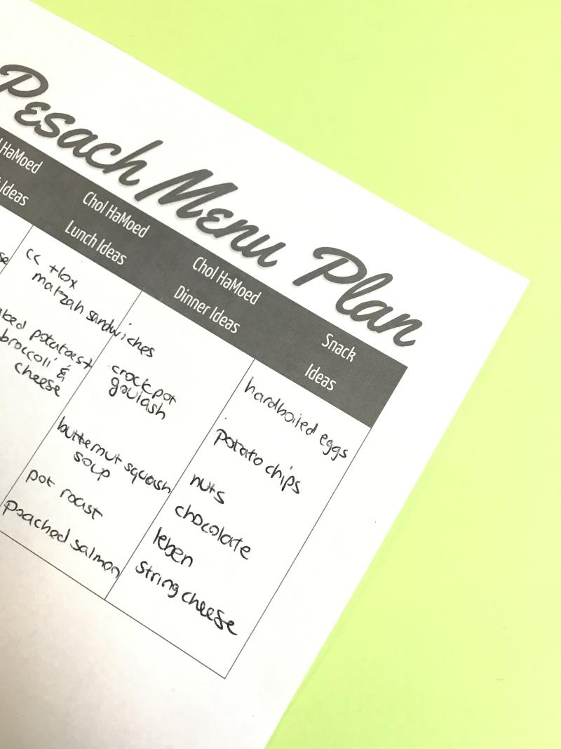 Pesach menu planner