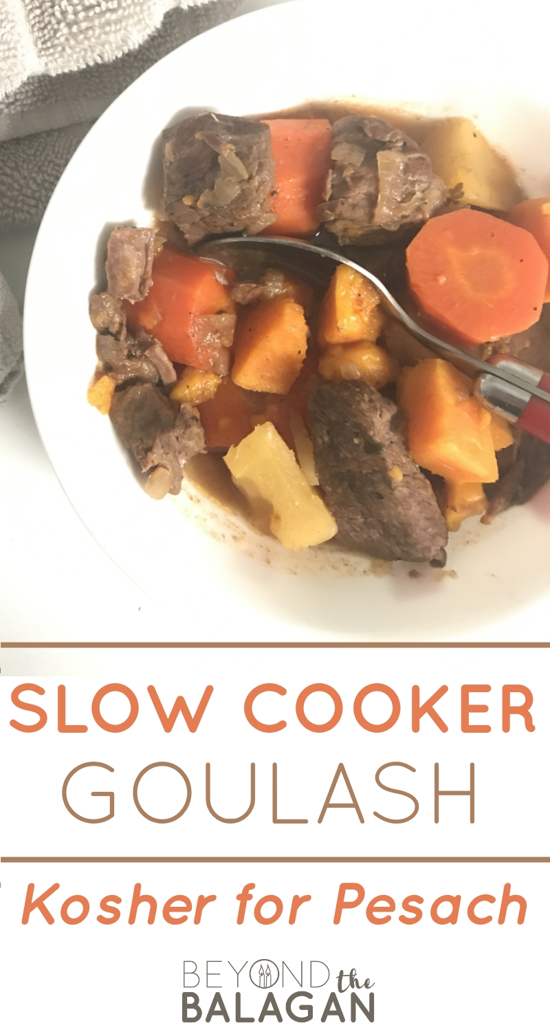 This delicious slow cooker goulash is kosher for pesach and all year round.