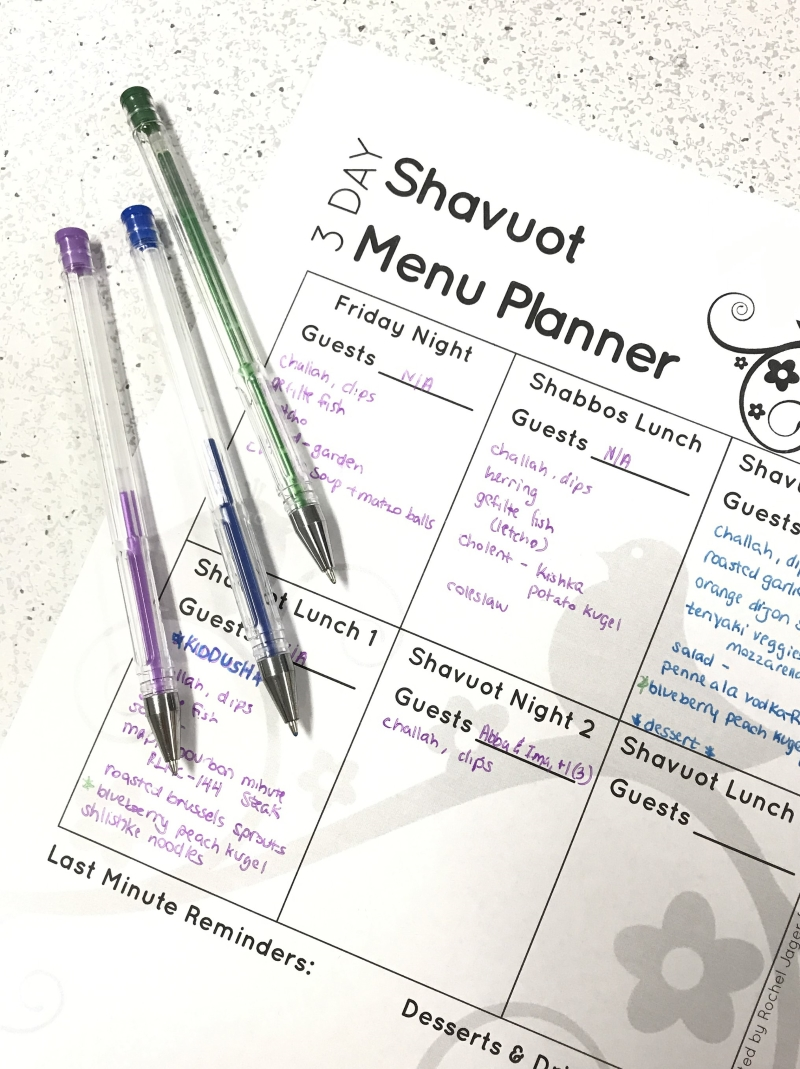 three-day Shavuot menu planner
