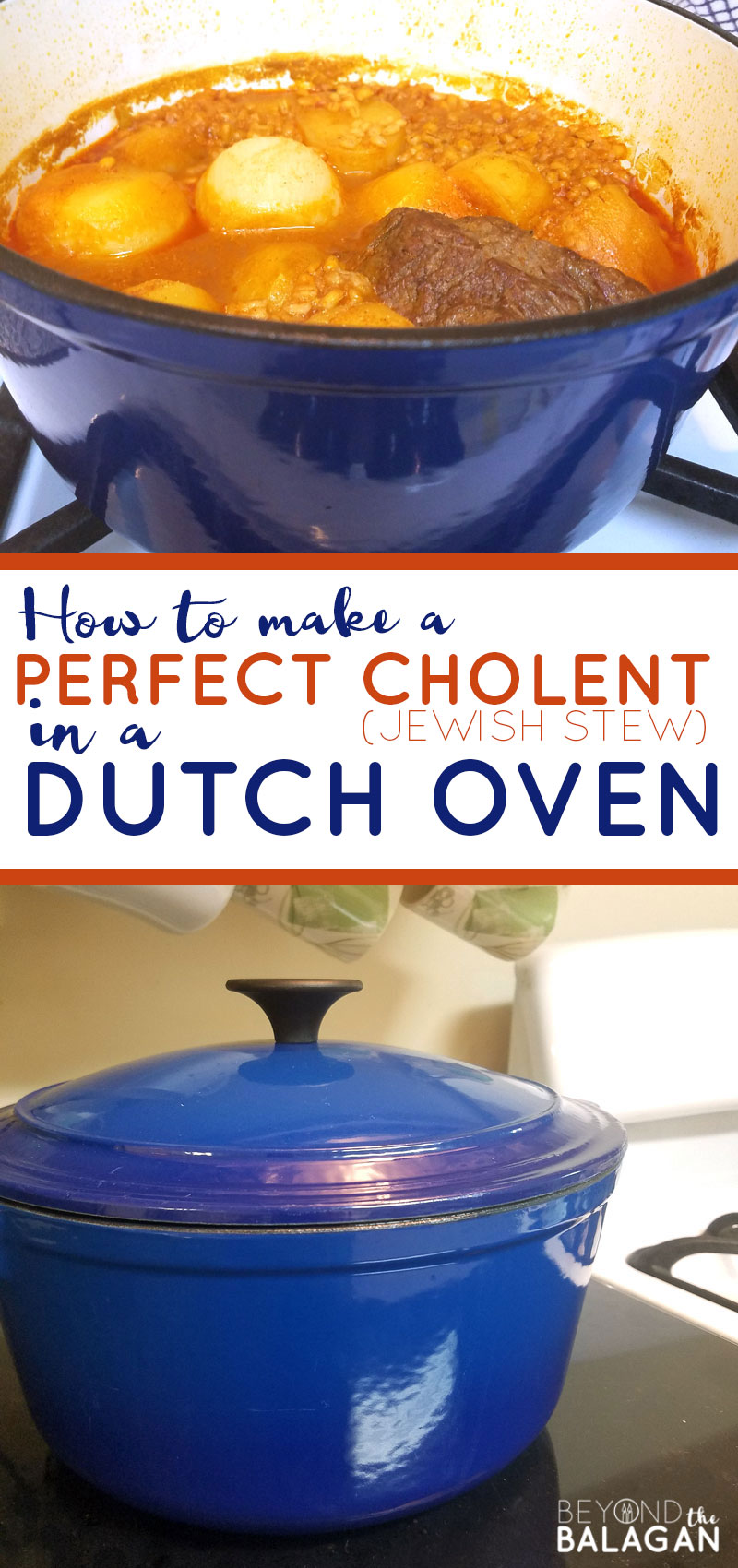 Click for the recipe that made me start loving Cholent - or Jewish slow cooked overnight stew! This is the best cholent recipe ever according to my husband. Make it in the dutch oven or in a crock pot or regular pot - but a le creuset dutch oven is best #jewish #cholent #recipe #jewishcuisine #jewishcooking #kosher #kosherrecipe