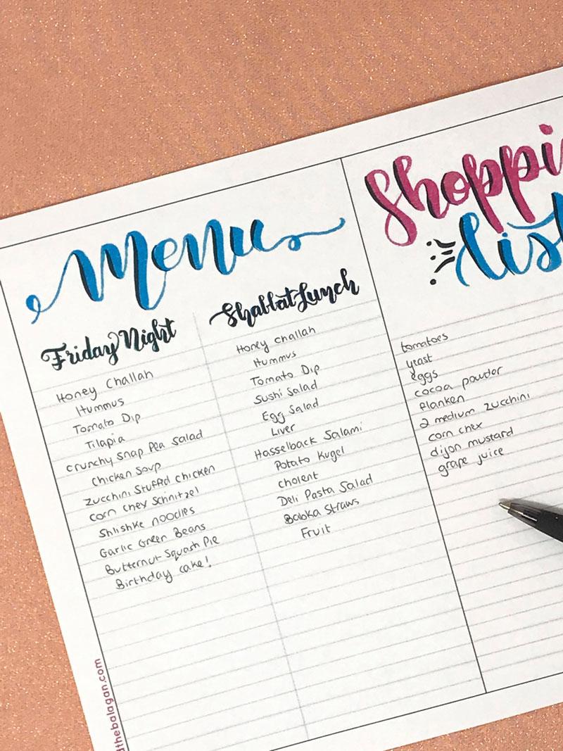 Shabbat menu planner and shopping list free printable