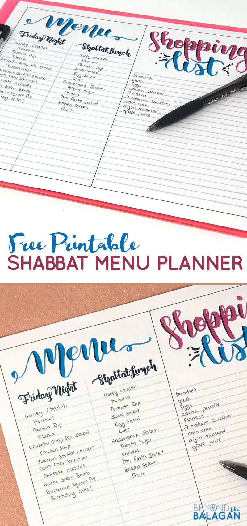 Click to grab your FREE printable copy of this beautiful brush lettered Shabbat menu planner - perfect for Shabbos meal planning! You'll love this resource to make prepping for the Jewish sabbath easier! #shabbat #shabbos #jewishholidays