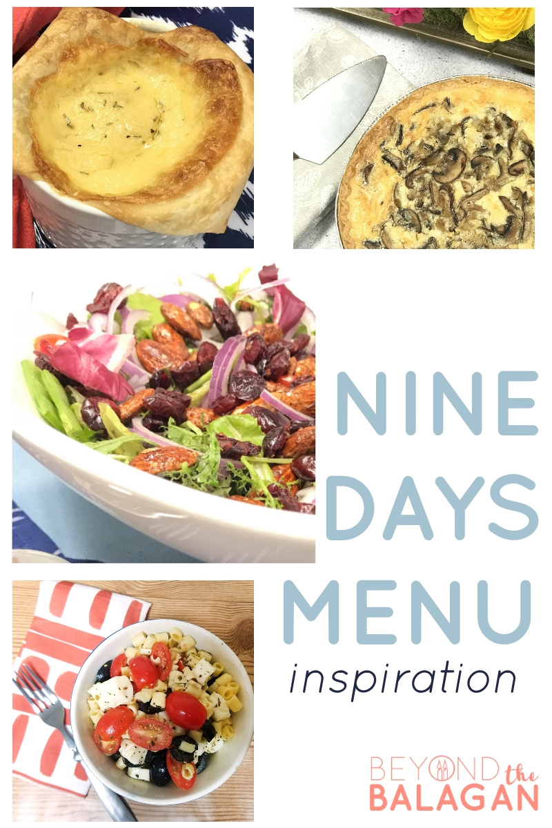 Nine Days Menu delicious meatless meals and dairy meal inspiration