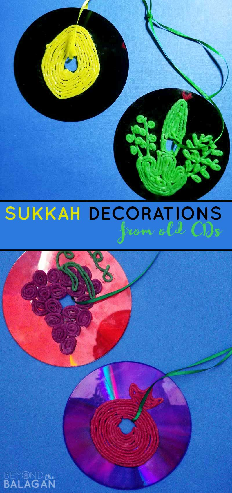 Click to learn how to make these beautiful Sukkah decorations with children from old CDs! They are at least somewhat waterproof, easy and kids and adults, as well as toddlers can make these!