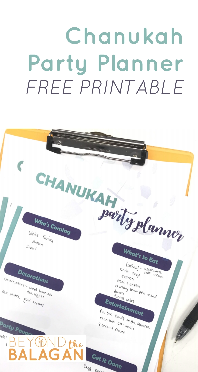 Chanukah Party Planner free printable