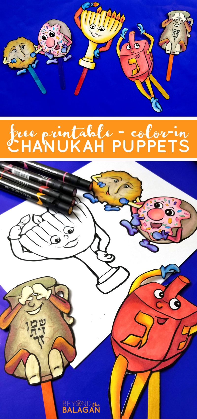 Click to download your free prinable Chanukah puppets coloring pages for Hanukkah! This fun Hannukah paper craft for kids is also a great teaching tools for the Jewish holidays.