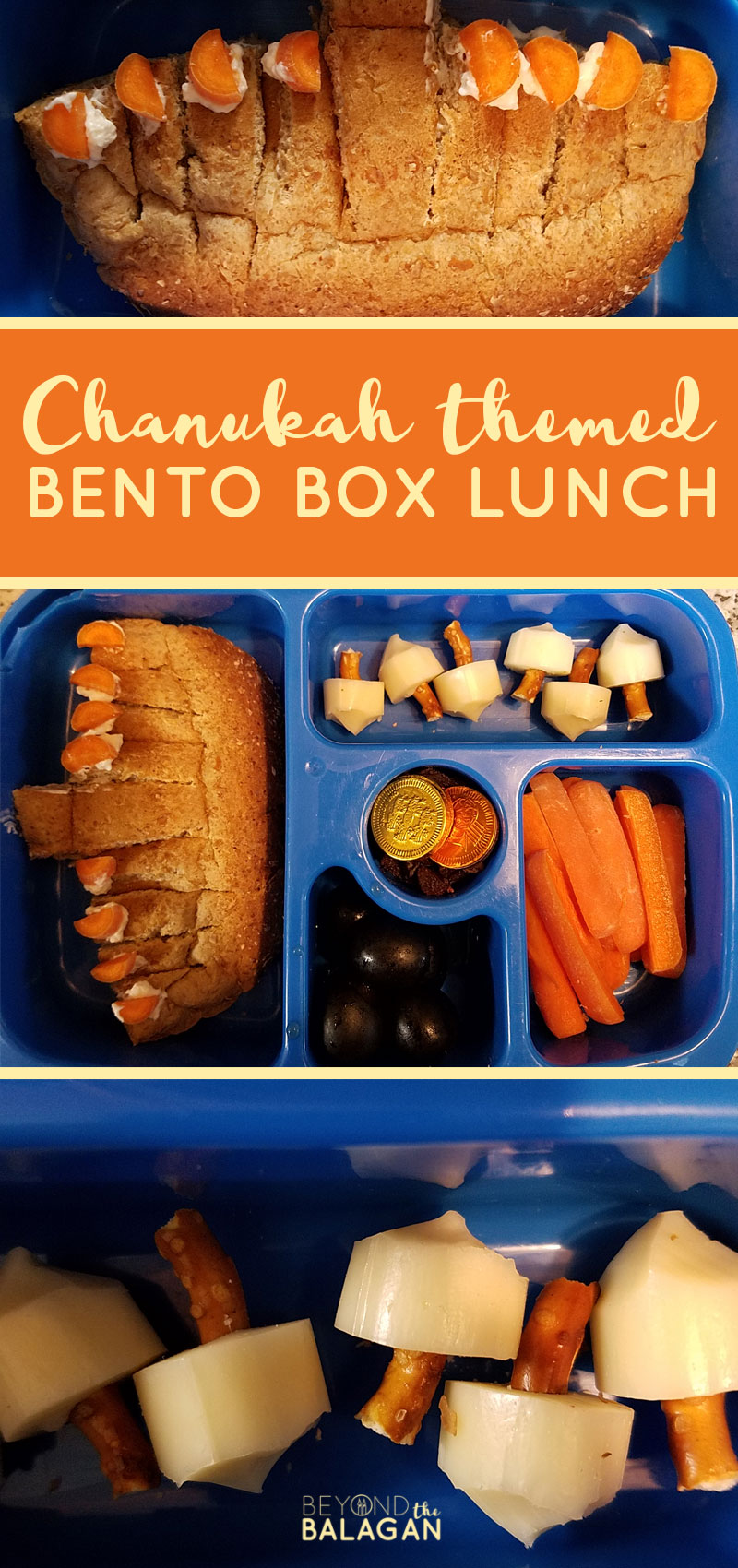 Click for this Chanukah lunch bento box idea - a fun Hanukkah food idea for kids! #hanukkah #chanukah