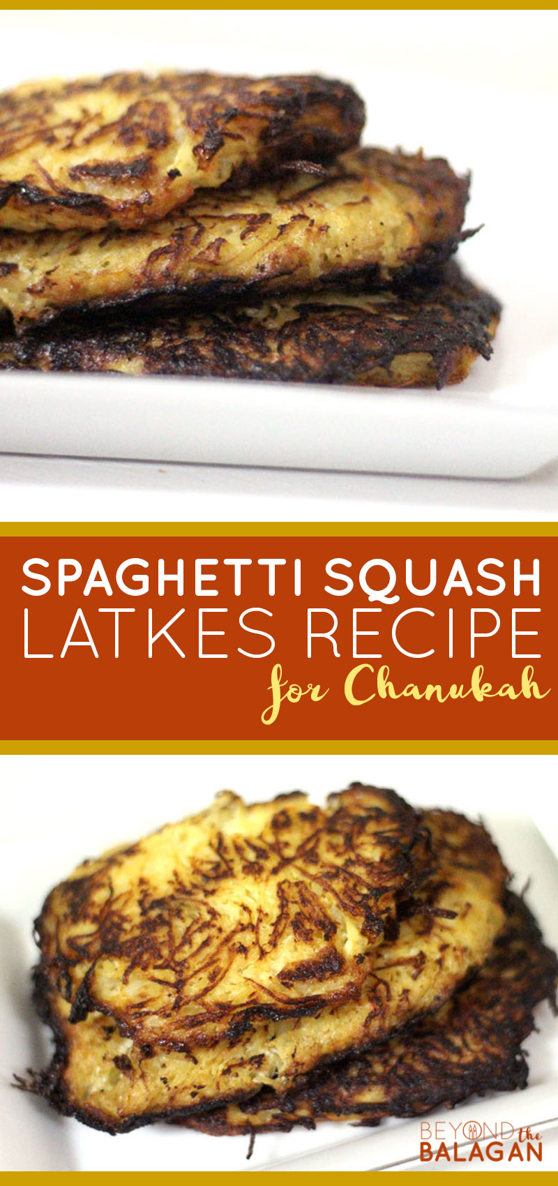 Click for the recipe to make these delicious spaghetti squash latkes recipe for Chanukah or Hanukkah. this is a great way to celebrate Chanukah with kids and perfect traditional latkes recipe for a family Hannukah party.
