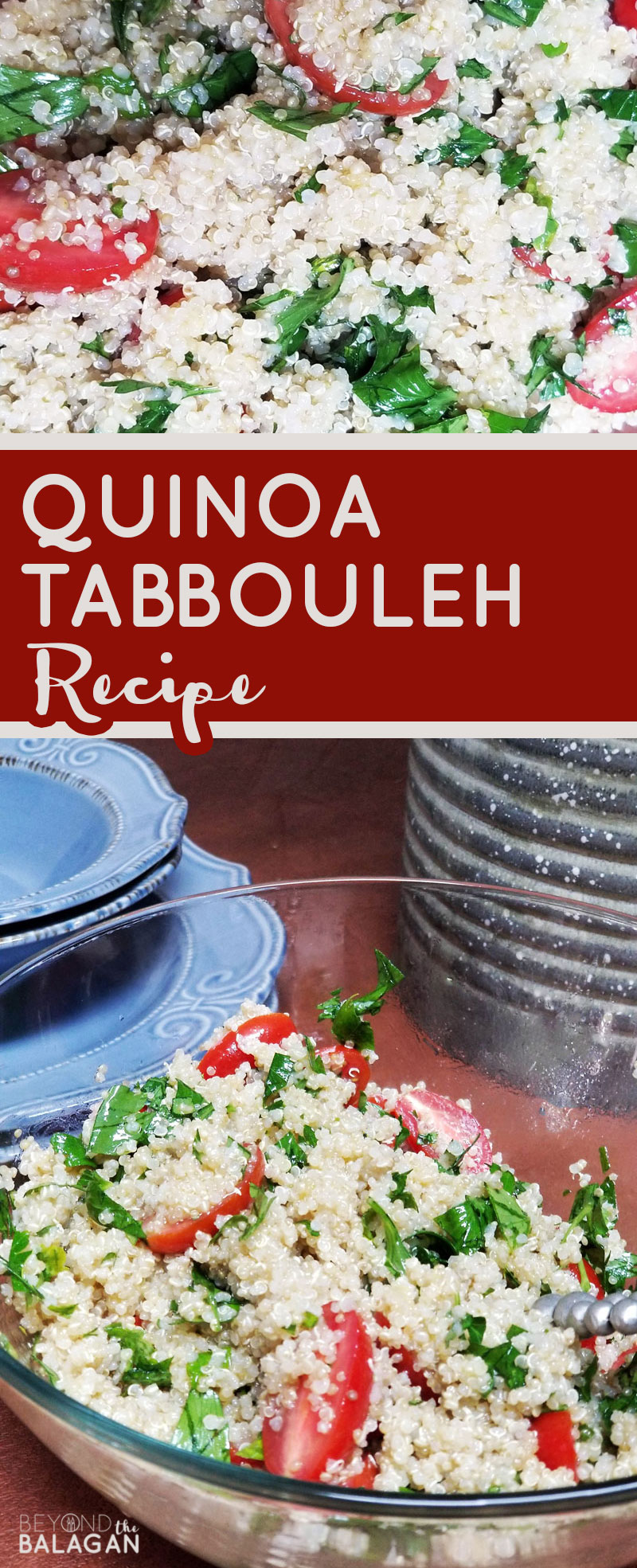 Looking for a delicious healthy salad recipe that's also filling? Try this yummy quinoa tabbouleh salad recipe - a middle eastern dish that's deliciously herby and will help you use up your parsley from your garden. #parsley #tabbouleh #salad