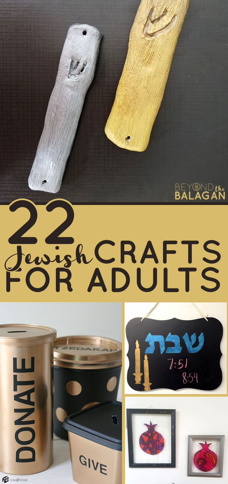 If you're looking for some cool Jewish crafts for adults, this list has everything you need - from DIY juidaica, to things Jewish moms can make for their kids, Jewish home decor, and Jewish holiday crafts...