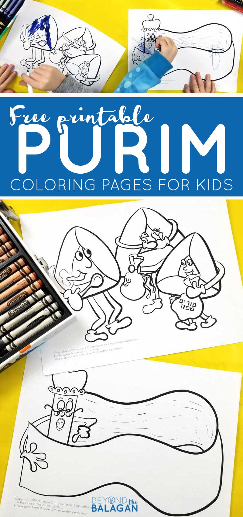 Click to download FREE printable Purim coloring pages for kids! These fun megillah and hamantaschen colouring pages are perfect Purim crafts for little kids to learn about Jewish Holidays and great Hebrew school ideas.