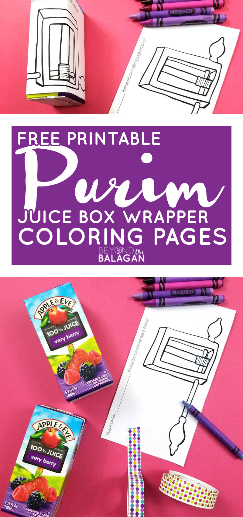 Click for a free printable Purim coloring page and an adorable, frugal, allergy friendly mishloach manot idea for Purim!