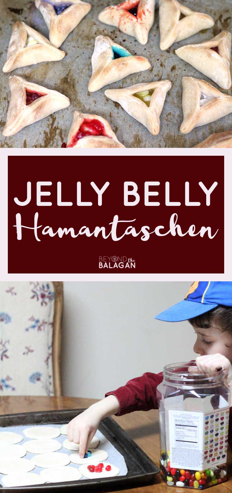 Make these jelly belly hamantaschen - a fun kid friendly hamantaschen cookie recipe! This is perfect for celbrating Purim with kids.