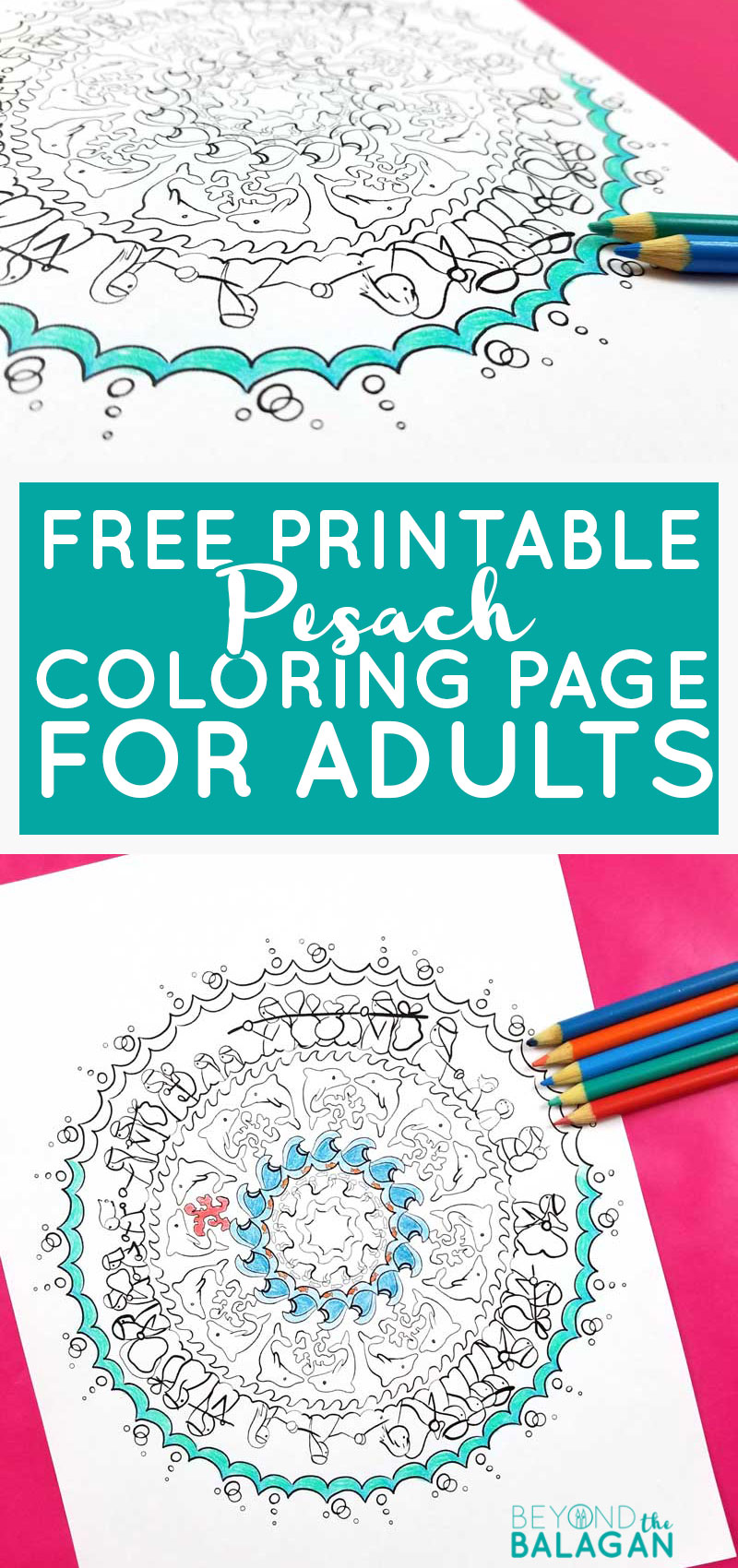 Click to download a free printable Passover coloring page for adults - a splitting the sea mandala! This fun passover craft is a great pesach project for teens too!