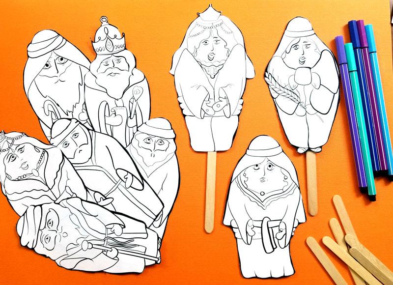 Shavuot Coloring Puppets - Megillat Ruth Stick Puppets Craft