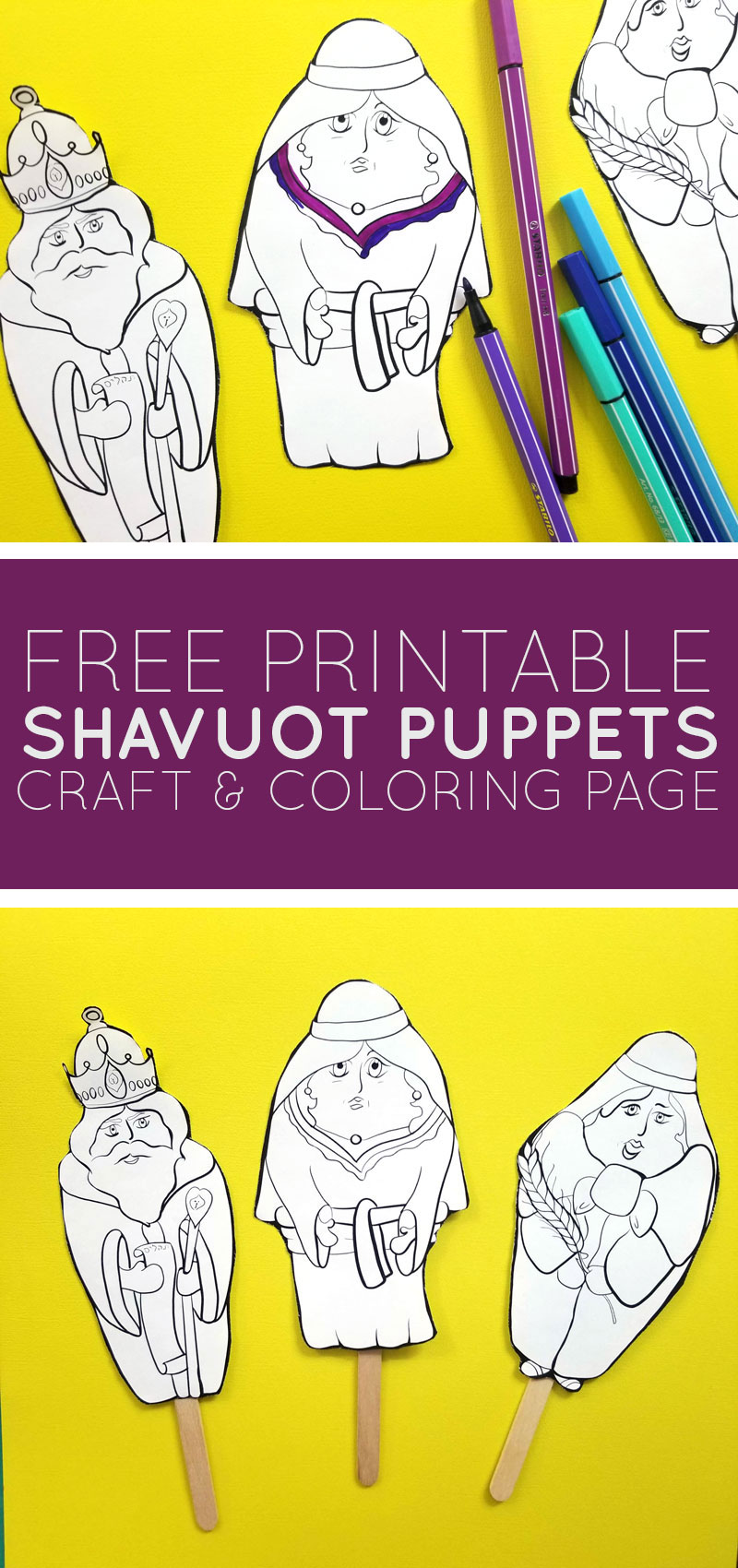 Click to download free printable shavuot coloring puppets! These fun Ruth and Naomi stick puppets are great for teaching about the Book of Ruth and the holiday of Shavuos.