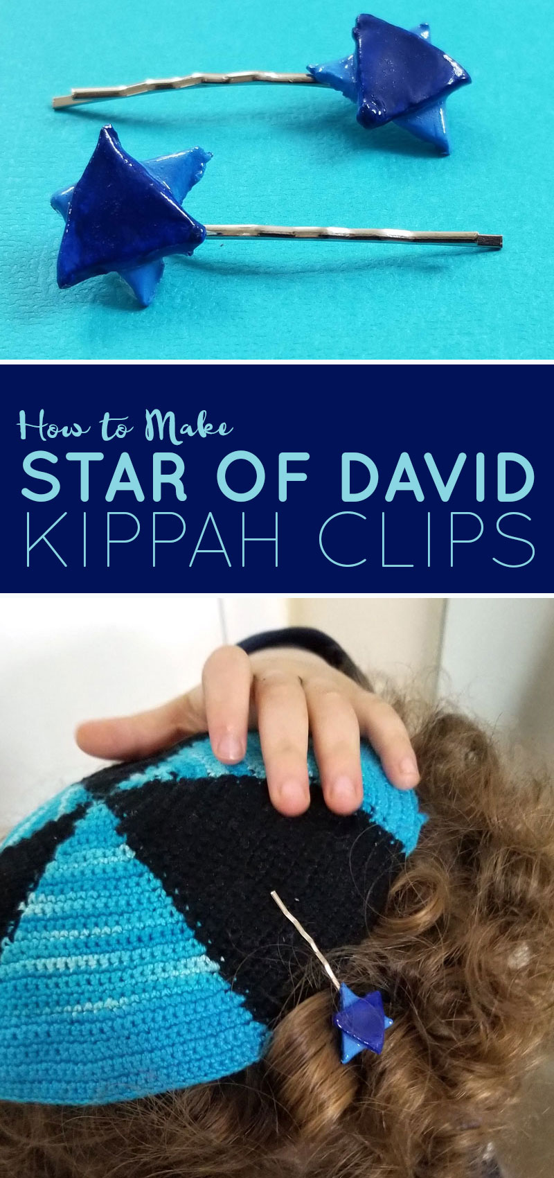 A fun Jewish craft for moms - these clay star of david Kippah clips are super fun for celebrating an Upsherin or Jewish third birthday party!