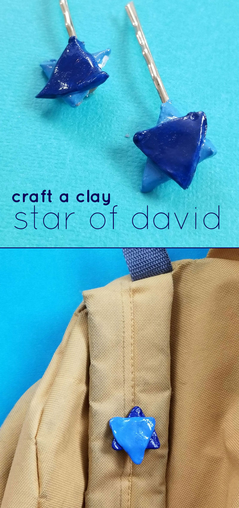 Click to learn how to craft some clay star of david kippah clips and pins - a fun upsherin idea and Jewish craft for kids and adults!