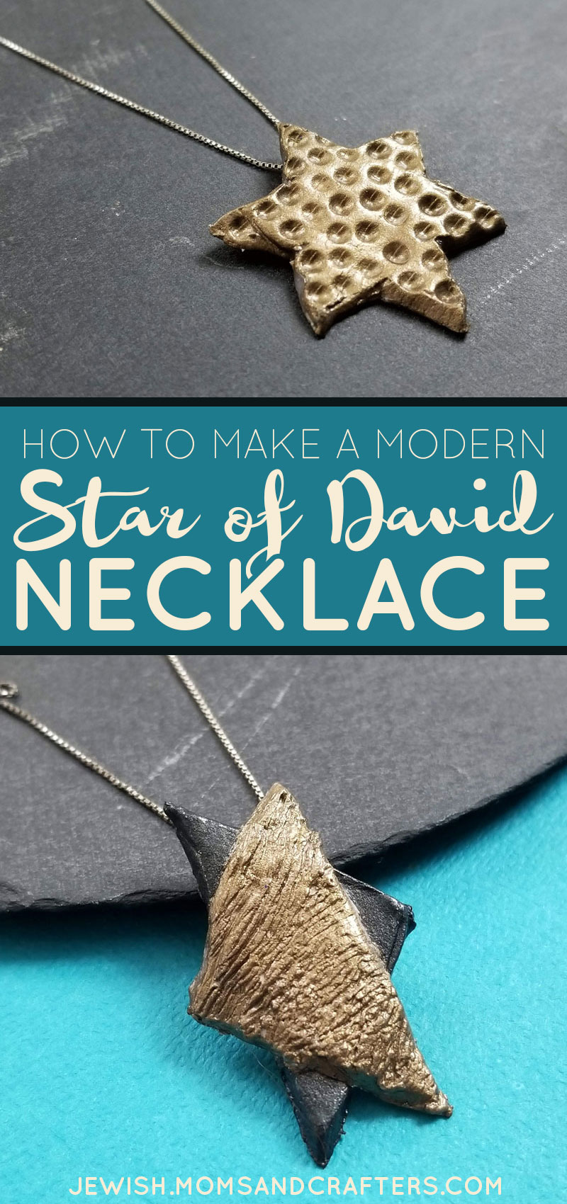 Click to learn how to make a DIY star of david necklace craft! This super easy Chanukah craft is also a fun Jewish craft for adults for year round. It makes a great easy DIY Hanukkah gift and is an easy beginner clay jewelry making project.