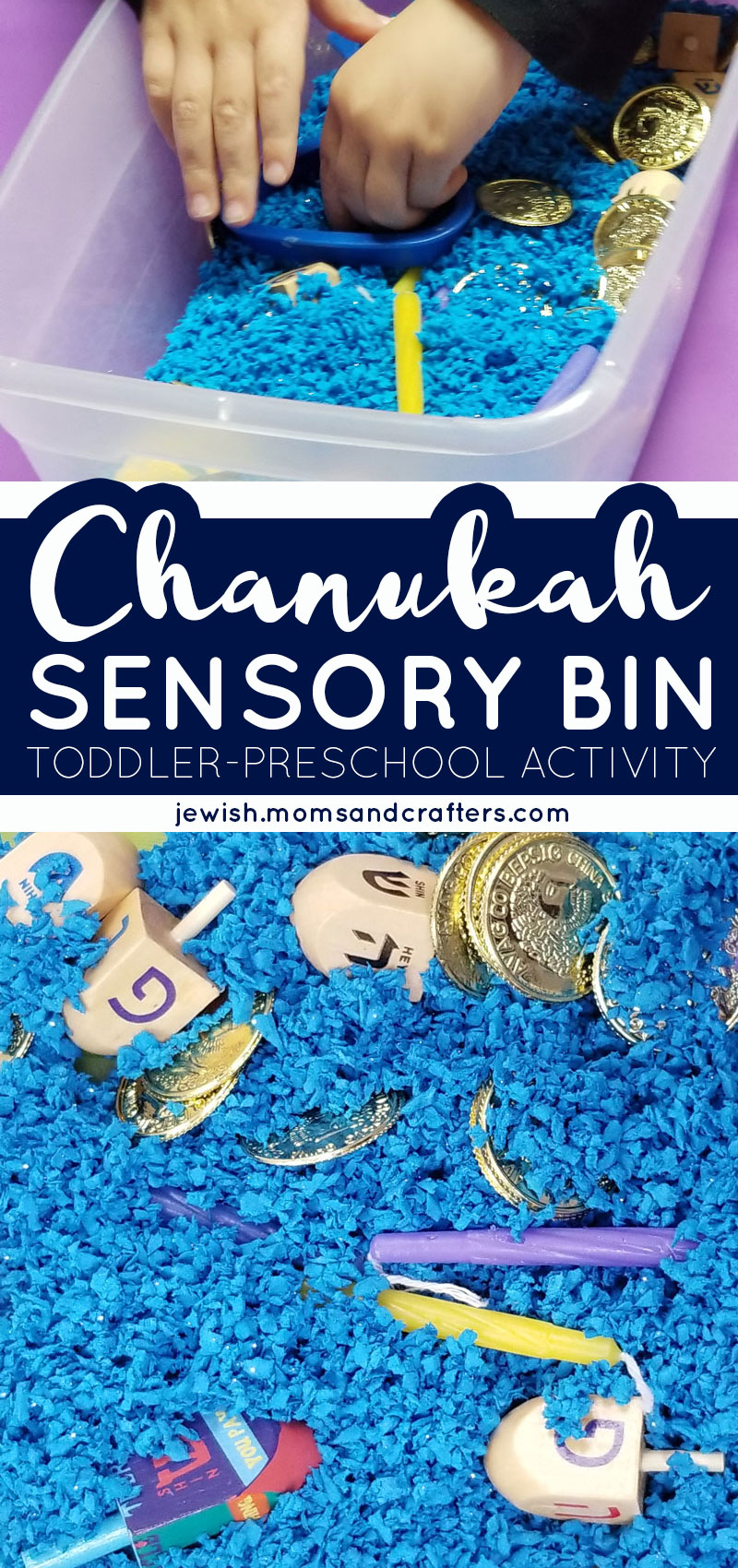 Click for one of my favorite preschool activities for Hanukkah - a unique Chanukah sensory bin! This is a fun toddler activity for two years old and up, featuring dreidels, candles, and more!