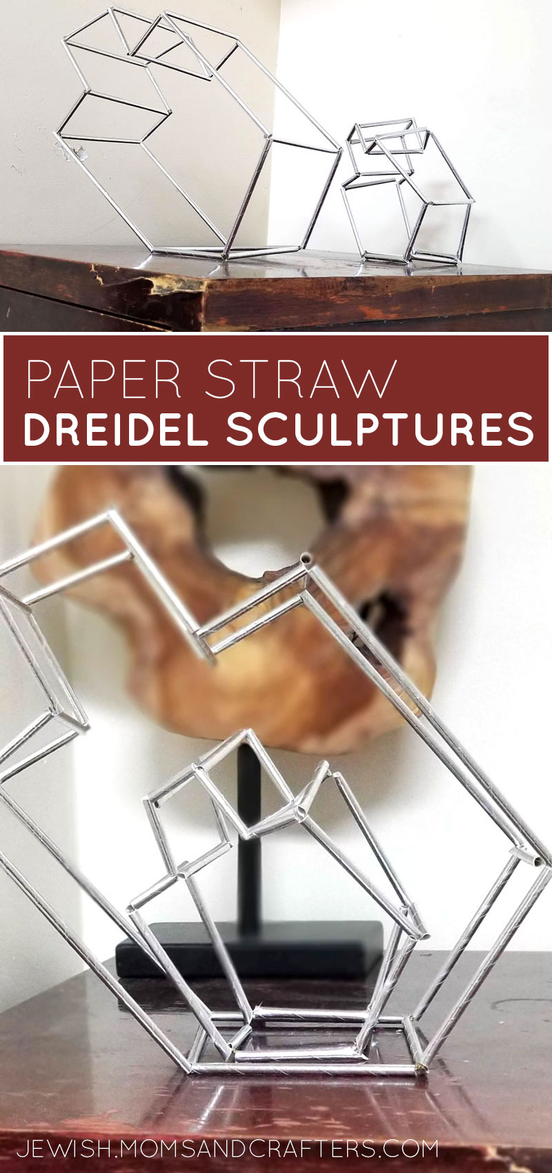Learn how to make your own dreidel decorations using paper straws and a himmeli-inspired technique! This fun Chanukah craft for adults is a great Hanukkah party decoration for big kids or grown-ups to DIY using paper straws.