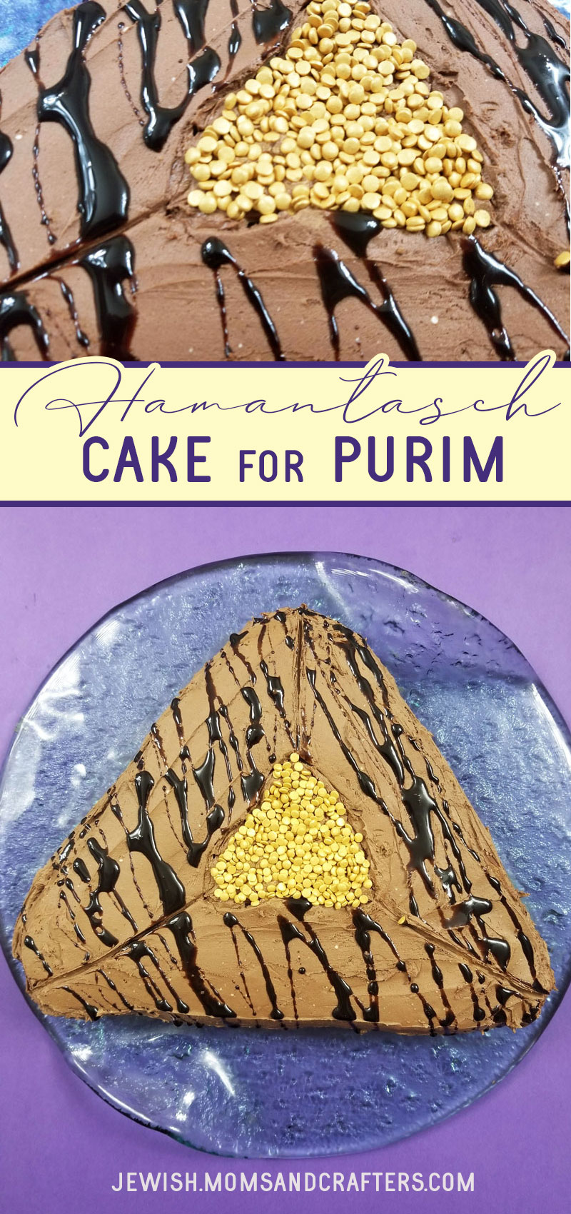 Click to make this adorable and insanely easy purim cake -one of my favorite Purim ideas that's a fun alternative to hamantaschen (and easier) and that's a great Purim party food!