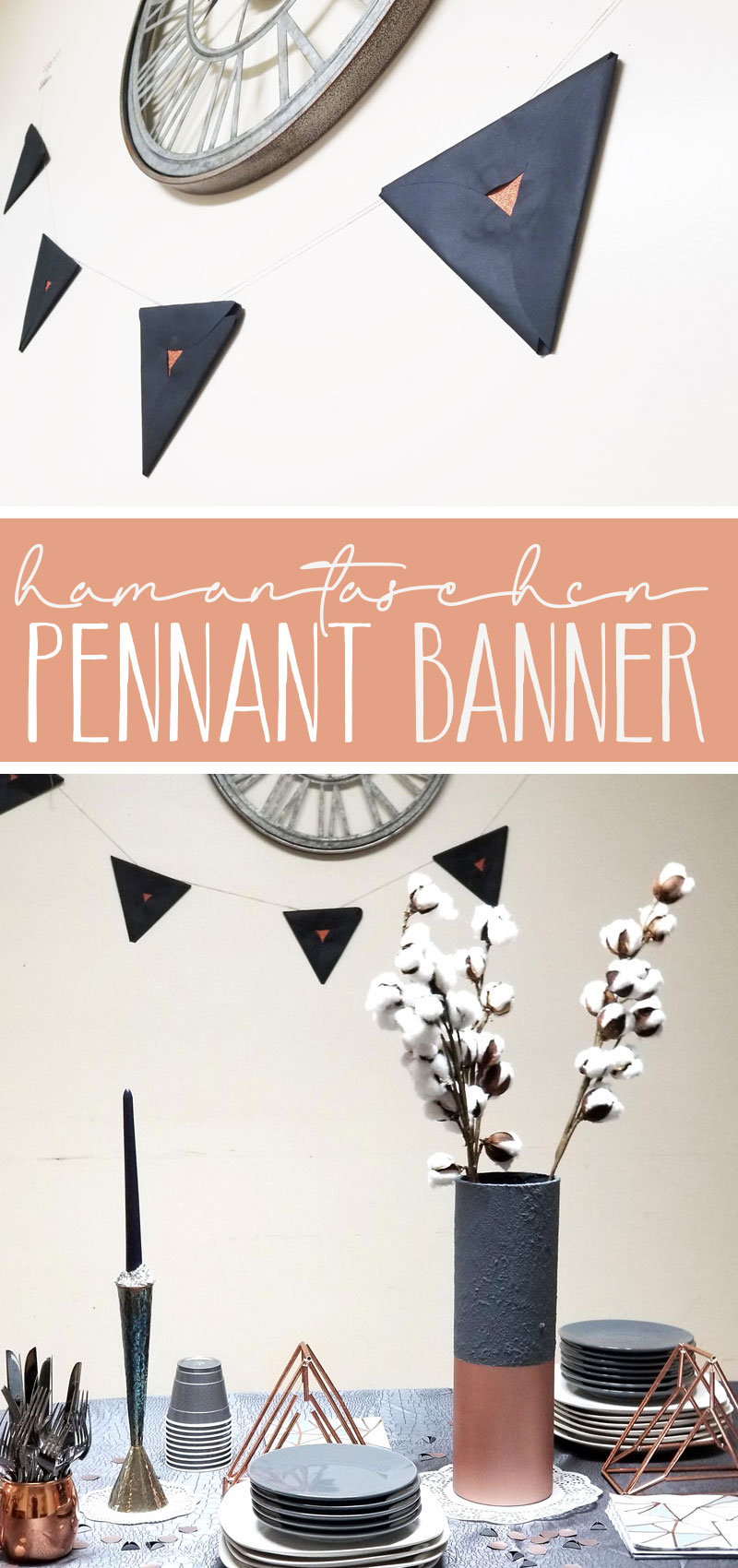 Click for a super cool DIY purim decoration idea! This hamantaschen pennant banner is an easy Jewish paper craft that's great for kids, adults, and everyone in beteween. It's easy DIY Purim decor that you'll love to have around.