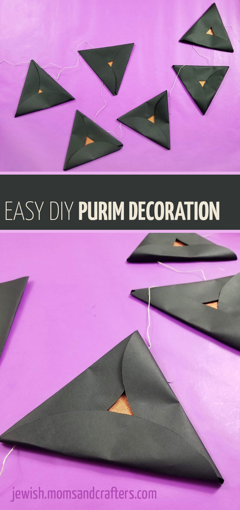Click for an easy tutorial to make folded paper hamantaschen and turn them into a garland style Purim decoration! This classy and easy DIY purim decorating idea is great for classrooms or Purim parties and can be made by any age group.