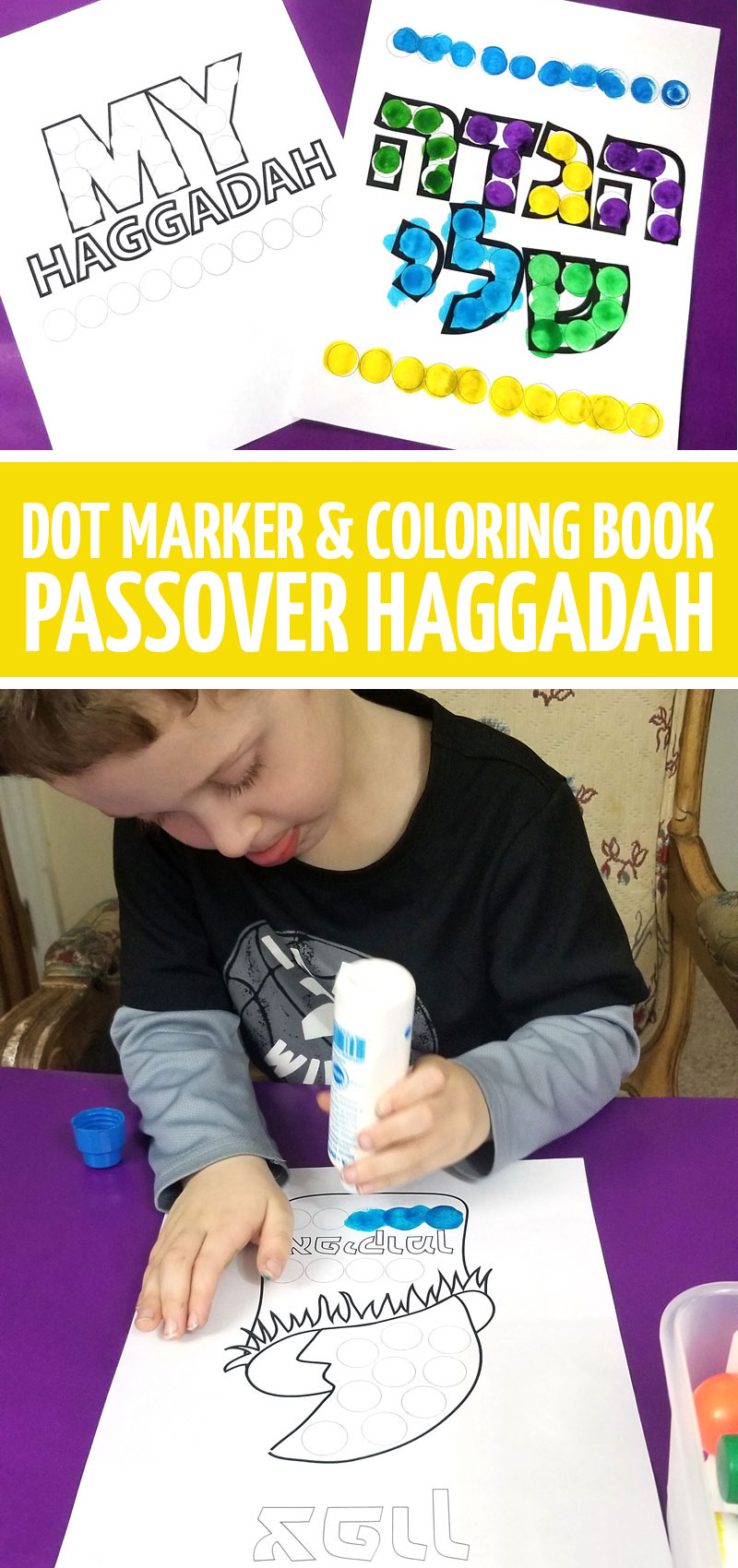 Click for a printable Passover Haggadah for kids - a fun Pesach craft for toddlers, preschool and more! It comes with a coloring book to download and a do a dot (bingo marker) version!