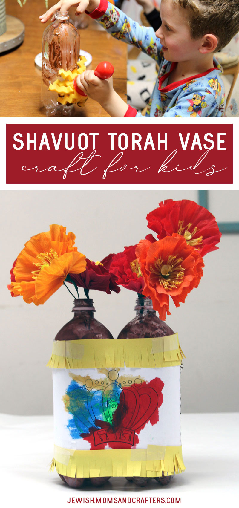 Make a fun torah craft for kids - a shavuot flower vase centerpiece! This fun shavuos project is easy and fun for toddlers and preschoolers and includes a free coloring page