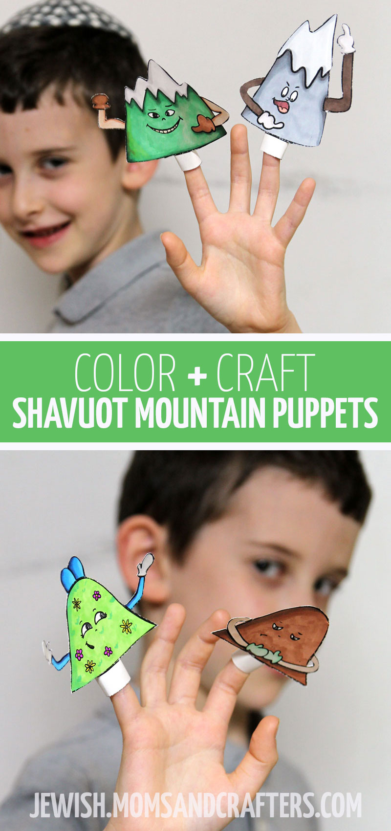 Click for a fun Shavuot puppets craft for kids to make for shavuos. This fun Jewish preschool activity and toddler craft is an easy free printable coloring page and music activity for the Jewish holidays.