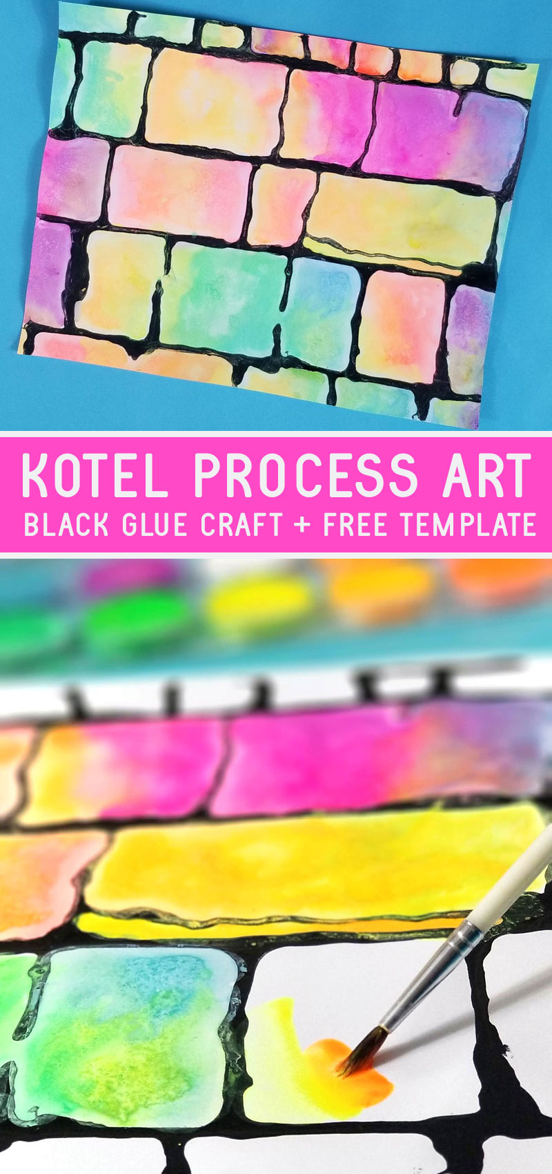 Make this gorgeous Kotel art project for kids and adults - great for Hebrew School and studying Israel and Independence Day! This beautiful black glue resist craft uses neon watercolor paints for a fun Jewish art project for kids. It makes a great Sukkah Decoration too.