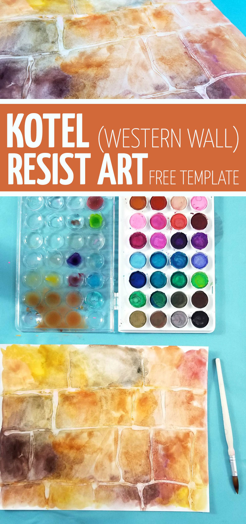 Make this beautiful Kotel art - Western Wall Process art using glue resist and watercolors. Download the free template for this craft - perfect for Tisha B'av crafts for kids and the 9 days. Also great for DIY sukkah decorations for kids - just laminate!