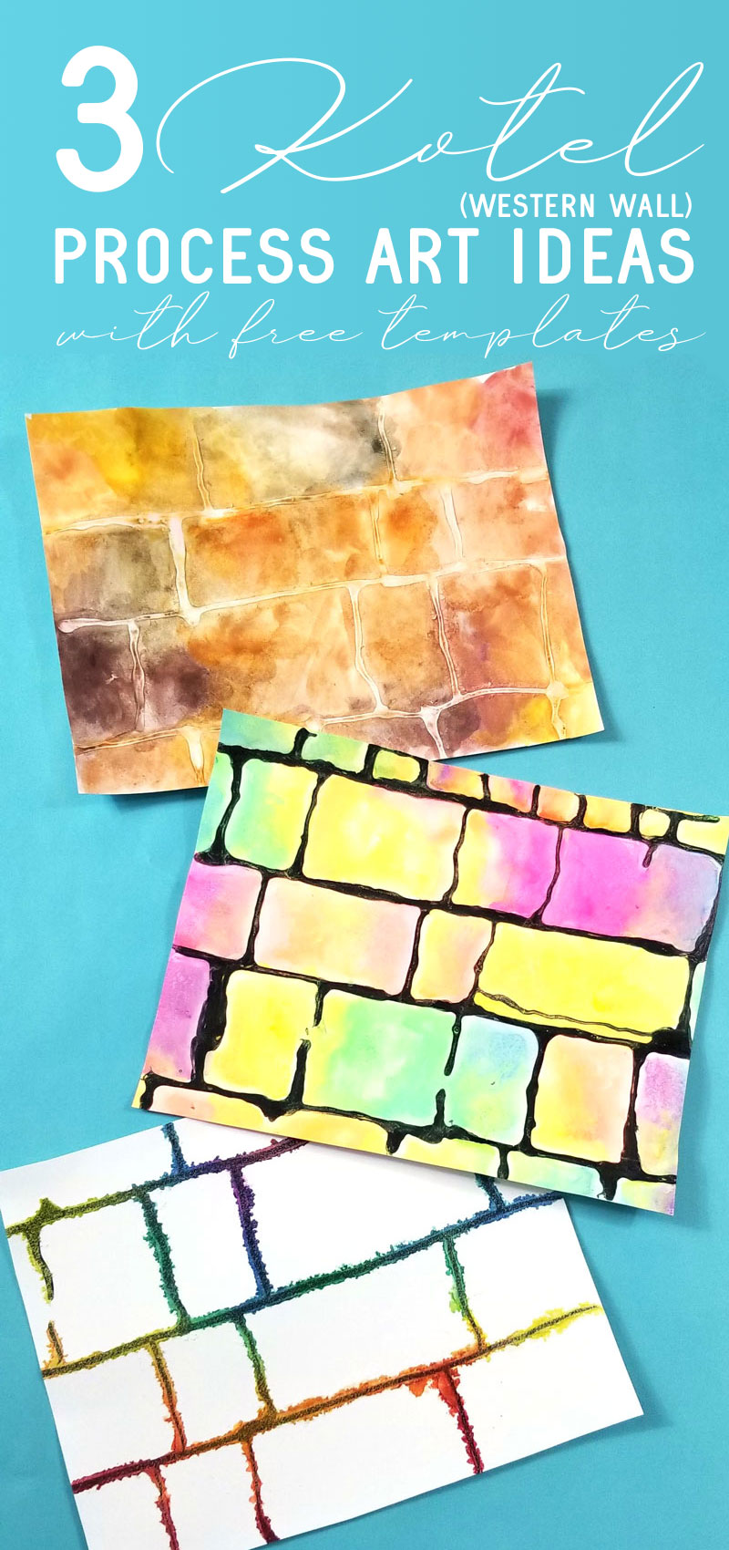 Click for a free template to make three kotel process art projects - fun Jewish art projects for kids and adults! These watercolor process arts are a great idea for Hebrew School, Tishah B'av crafts, Sukkah decorations, and for Israel themed celebrations.