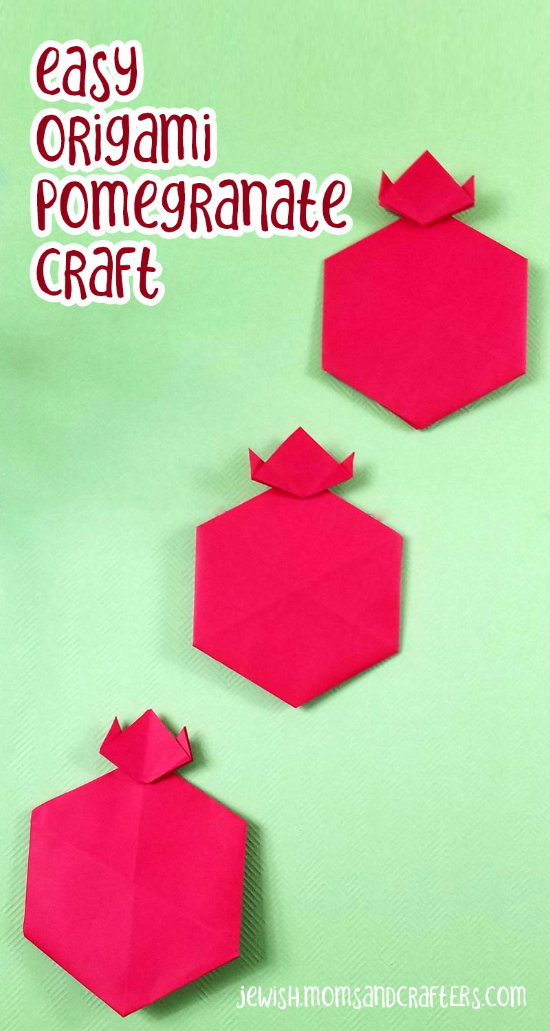 Click to learn how to make an origami pomegranate - a fun and easy rosh hashanah craft for kids
