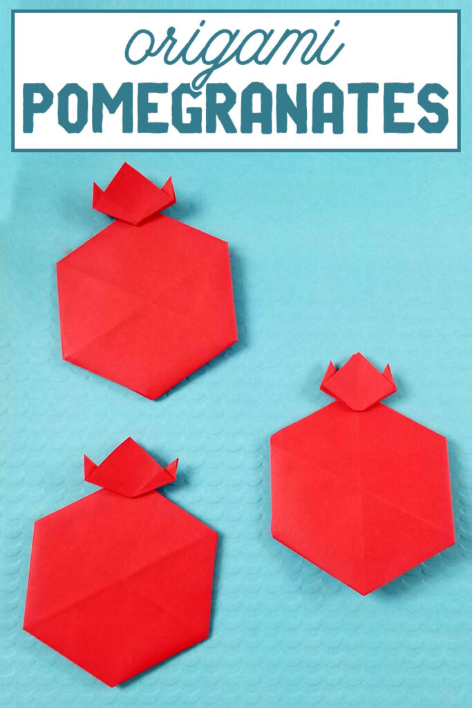 click to make origami pomegranates - a fun paper craft for kids to celebrate the high holidays.