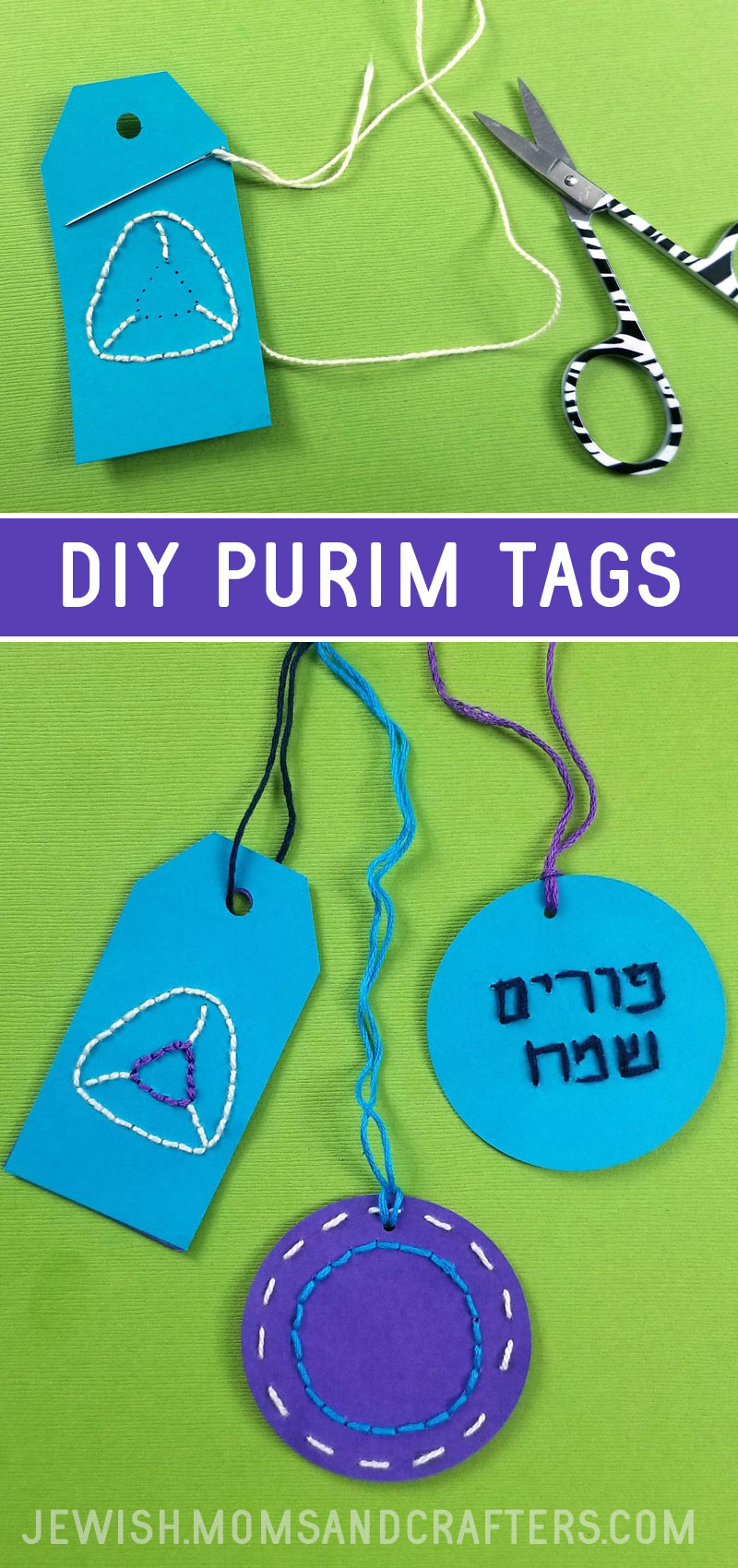 Craft your own DIY Purim tags to use instead of labels for your Mishloach Manot - you can use this on any theme package!