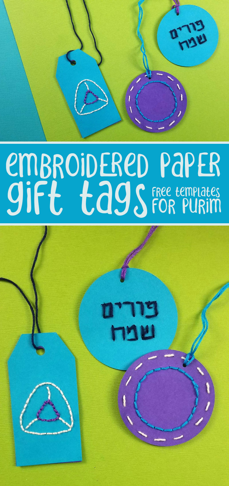 Purim gift tags that are made from stitched paper are a fun Purim craft for kids (if pre-punched), teens, and adults. Learn how to sew paper and embroider cool designs on cardstock gift tags.