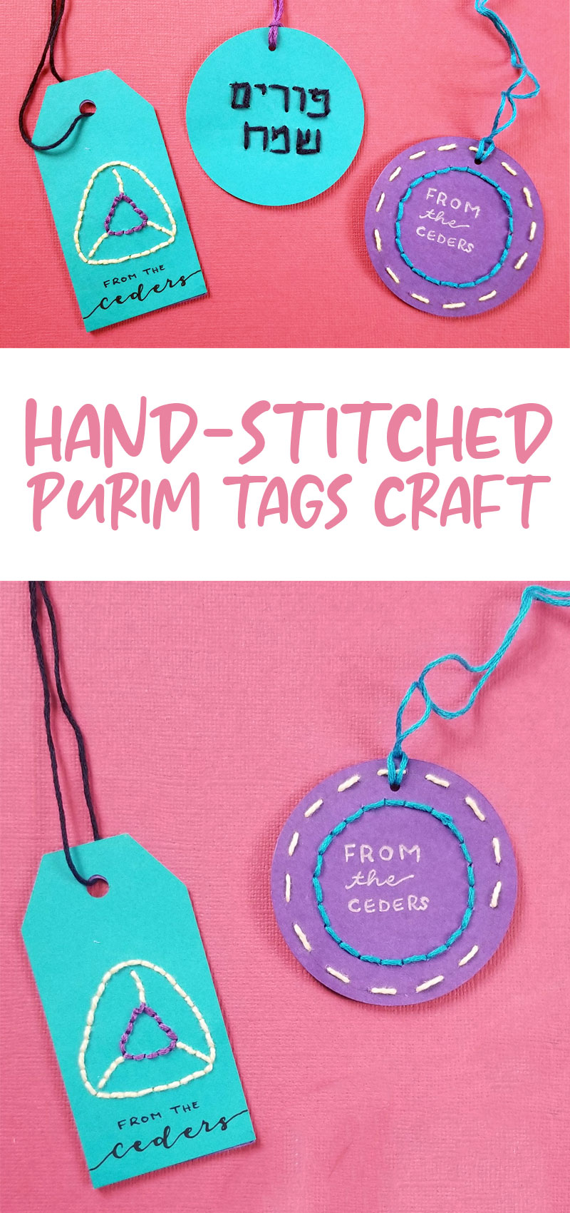 hand stitched purim tags craft